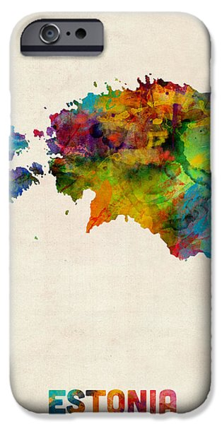 Austria iPhone Cases - Estonia Watercolor Map iPhone Case by Michael Tompsett