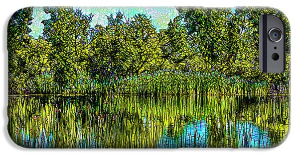 Mystical Landscape Mixed Media iPhone Cases - Eternal Reflections iPhone Case by Joel Bruce Wallach