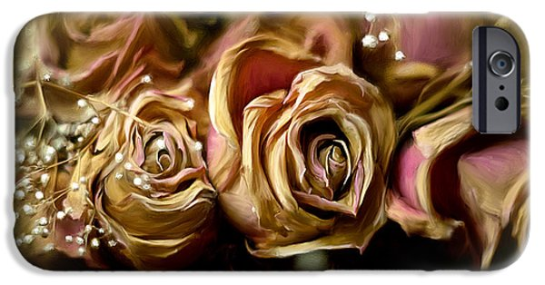 Gold Roses iPhone Cases - Eternally iPhone Case by Lois Bryan