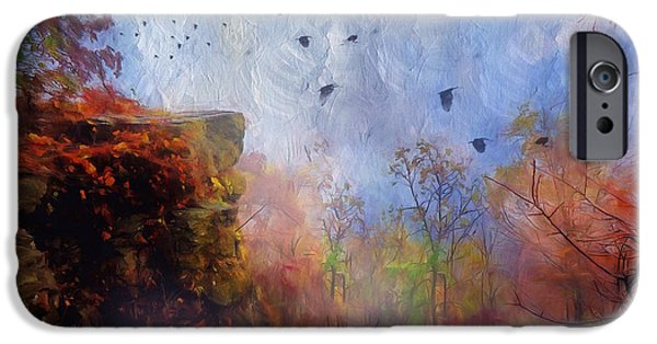 Mystical Landscape Mixed Media iPhone Cases - Ethereal Autumn iPhone Case by Georgiana Romanovna