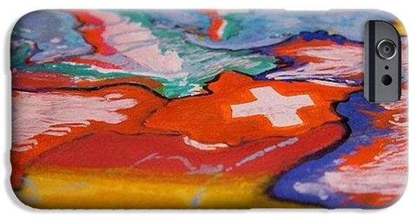 Switzerland Tapestries - Textiles iPhone Cases - Europa iPhone Case by Nila  Poduschco