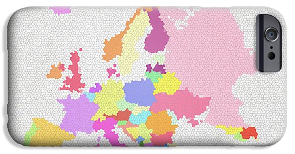 Czech Republic Digital iPhone Cases - Europe map on stained glass iPhone Case by Setsiri Silapasuwanchai