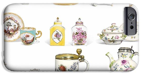 Ceramic Mixed Media iPhone Cases - European Art European Pottery - Meissen Porcelain iPhone Case by Celestial Images