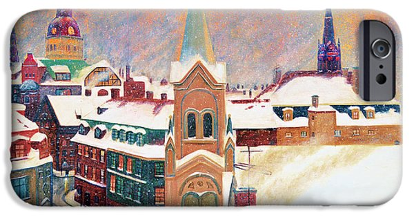 Snowy Night iPhone Cases - European Color Burst iPhone Case by Ken Figurski