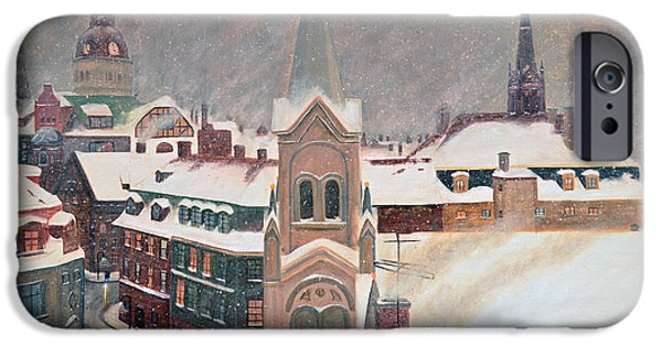Snowy Night iPhone Cases - European Winters Eve iPhone Case by Ken Figurski