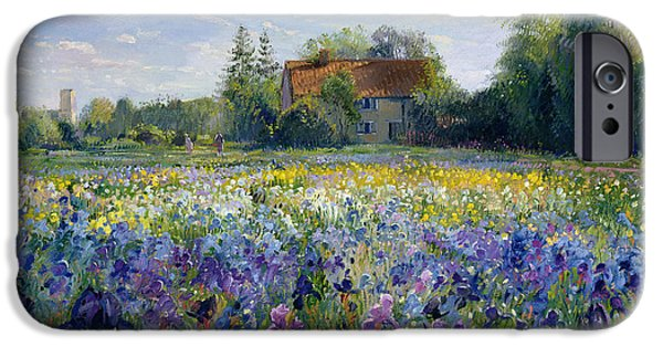 Florals Paintings iPhone Cases - Evening at the Iris Field iPhone Case by Timothy Easton