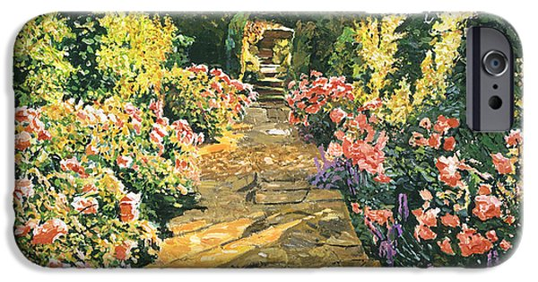 Pathway iPhone Cases - Evening Garden Sussex England iPhone Case by David Lloyd Glover