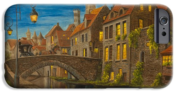 Painter Photo Paintings iPhone Cases - Evening in Brugge iPhone Case by Charlotte Blanchard