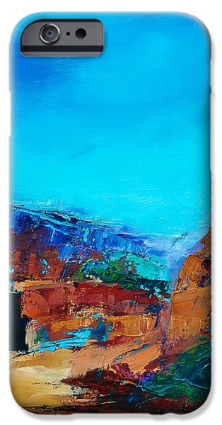 Morning Light Paintings iPhone Cases - Early Morning Over the Canyon iPhone Case by Elise Palmigiani
