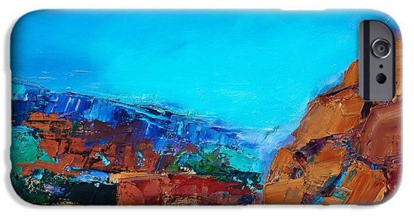 Canyons Paintings iPhone Cases - Early Morning Over the Canyon iPhone Case by Elise Palmigiani
