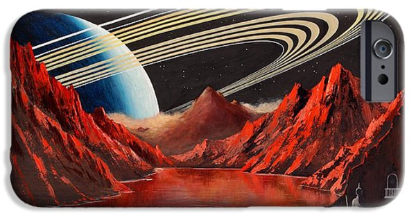 Exoplanet Paintings iPhone Cases - Evening On An Exomoon  iPhone Case by Suresh Chakravarthy