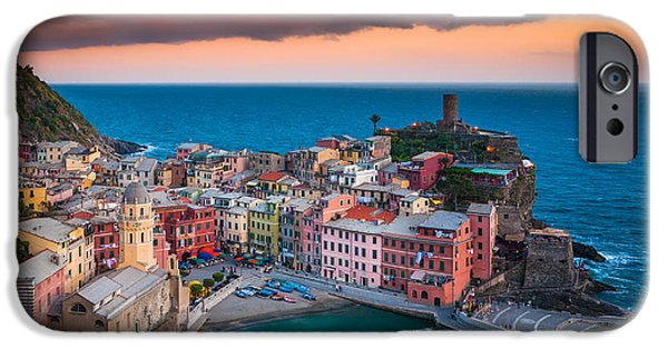 Italian Sunset iPhone Cases - Evening rolls into Vernazza iPhone Case by Inge Johnsson