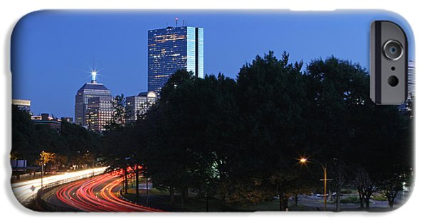 City. Boston iPhone Cases - Evening Rush Hour on Boston Storrow Drive  iPhone Case by Juergen Roth