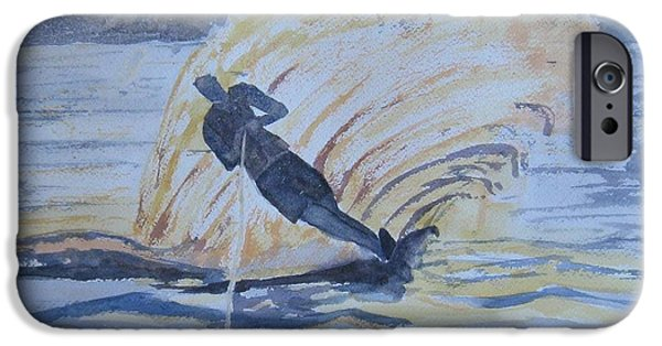 Ski Boat Prints Paintings iPhone Cases - Evening Ski Run iPhone Case by Dodie Davis