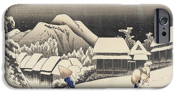 Snowy Drawings iPhone Cases - Evening Snow at Kanbara iPhone Case by Hiroshige