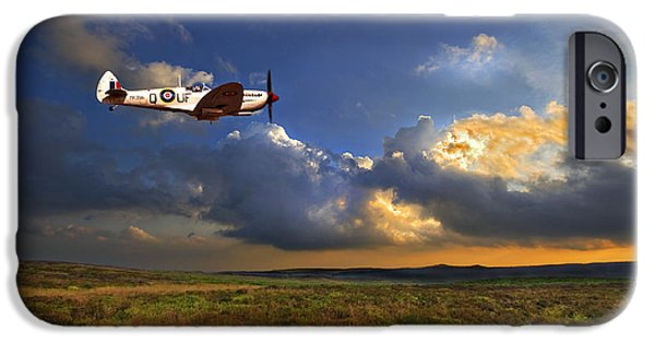 Britain iPhone Cases - Evening Spitfire iPhone Case by Meirion Matthias