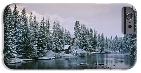 Reflections In River iPhone Cases - Evergreen Trees Covered With Snow iPhone Case by Panoramic Images