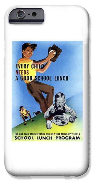 Healthy Mixed Media iPhone Cases - Every Child Needs A Good School Lunch iPhone Case by War Is Hell Store
