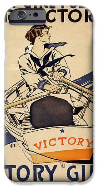 Wwi Paintings iPhone Cases - Every girl pulling for victory WWI poster iPhone Case by Celestial Images