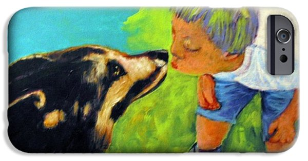 Dogs iPhone Cases - Evie and Sammy iPhone Case by Daniel Gray