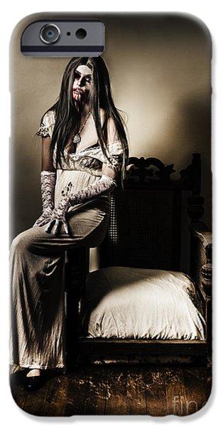 Interior Scene iPhone Cases - Evil vampire woman in old grunge haunted house iPhone Case by Ryan Jorgensen