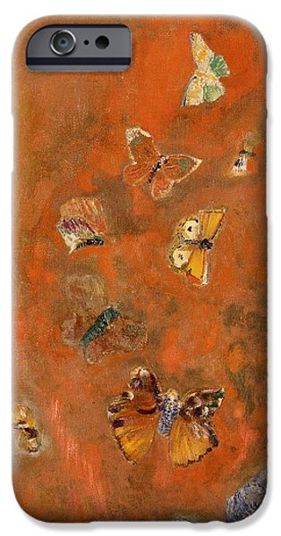 Hue iPhone Cases - Evocation of Butterflies iPhone Case by Odilon Redon