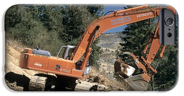 Backhoe iPhone Cases - Excavator At Work iPhone Case by Inga Spence