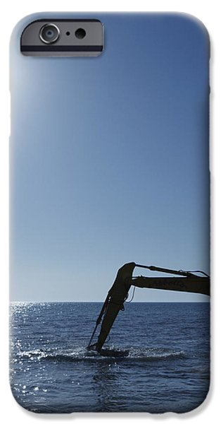 Excavator Digging in the Ocean iPhone Case by Skip Nall