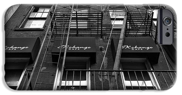 Exchange Place iPhone Cases - Exchange Cafe mono iPhone Case by John Rizzuto