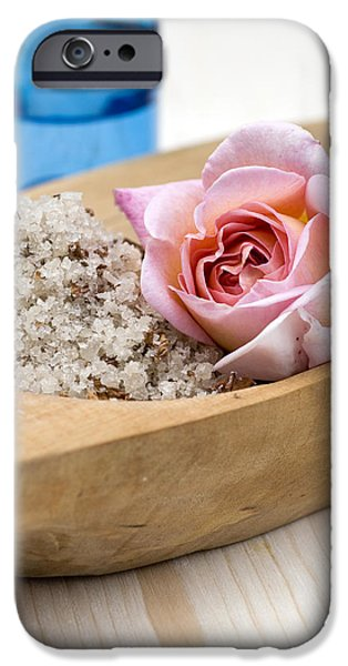 Exfoliating body scrub from sea salt and rose petals iPhone Case by Frank Tschakert