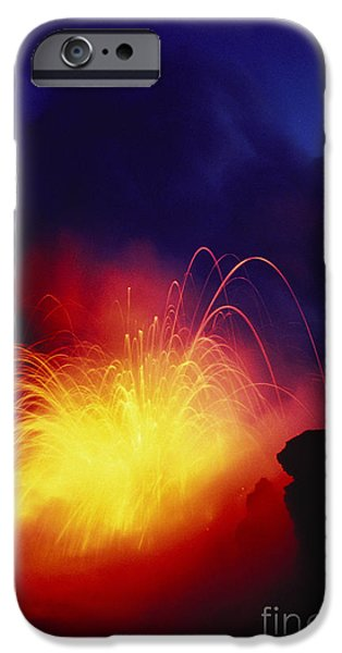 Exploding Lava And Person iPhone Case by Greg Vaughn - Printscapes