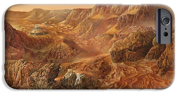 Cosmic Paintings iPhone Cases - Exploring Mars Nanedi Valles iPhone Case by Don Dixon
