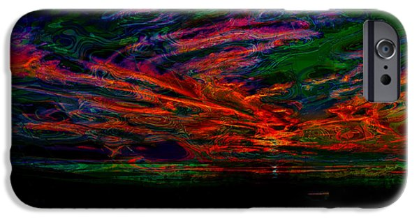 Abstract Digital Photographs iPhone Cases - Extraterrestrial Sunset iPhone Case by John Bailey