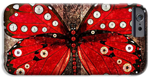 Strange iPhone Cases - Eye Spy A Butterfly iPhone Case by Ally  White
