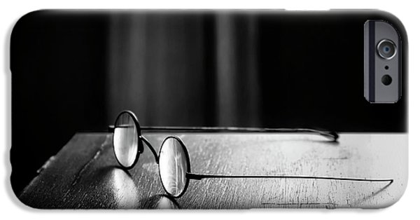 Glass Table Reflection iPhone Cases - Eyeglasses - Spectacles iPhone Case by Nikolyn McDonald