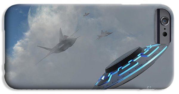 Paranormal Digital iPhone Cases - F-22 Stealth Fighter Jets On The Trail iPhone Case by Mark Stevenson