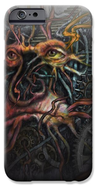 Tree Print Digital iPhone Cases - Face Machine iPhone Case by Frank Robert Dixon