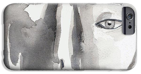 Monotone Paintings iPhone Cases - Faces iPhone Case by Arline Wagner