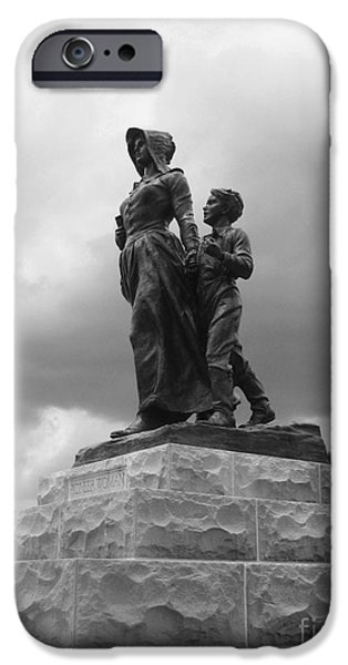 Facing the Storm Pioneer Woman Statue Oklahoma Icon   iPhone Case by Ann Powell