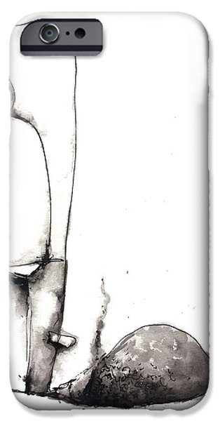 Abnormal Drawings iPhone Cases - Faded iPhone Case by Nick Watts
