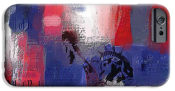 4th July Paintings iPhone Cases - Fading Freedom iPhone Case by Phil Hansen