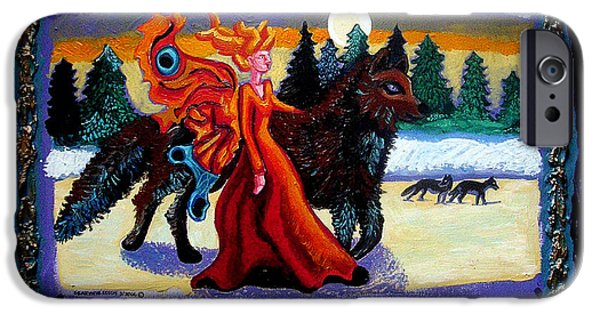 Angel Blues iPhone Cases - Faerie and Wolf iPhone Case by Genevieve Esson