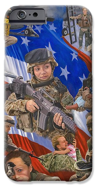 Flag iPhone Cases - Fair Faces of Courage iPhone Case by Bob Wilson