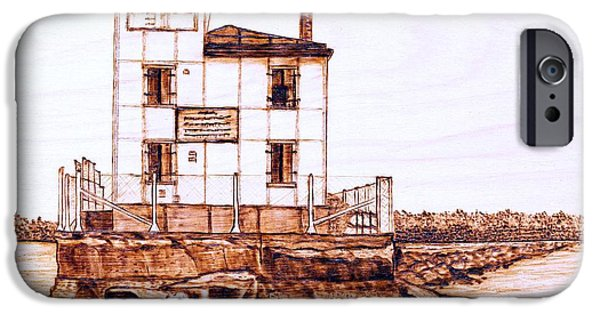 Lighthouse Pyrography iPhone Cases - Fair Port Harbor iPhone Case by Danette Smith