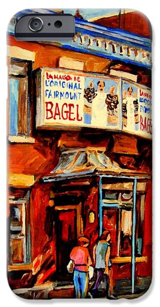 Montreal Land Marks Paintings iPhone Cases - Fairmount Bagel Montreal iPhone Case by Carole Spandau