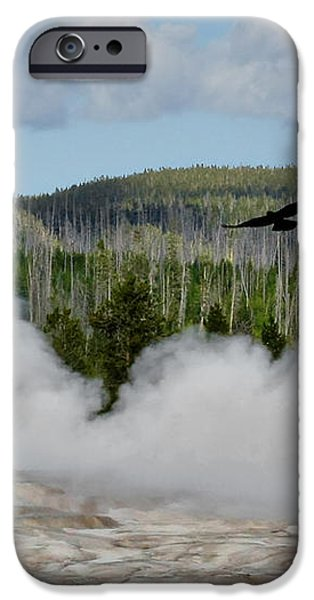 Falcon over Old Faithful - Geyser Yellowstone National Park WY USA iPhone Case by Christine Till