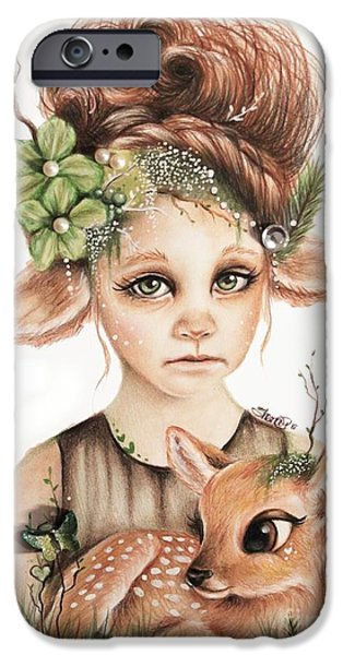 Innocence Drawings iPhone Cases - Faline - Only Friend in the World Collection iPhone Case by Sheena Pike