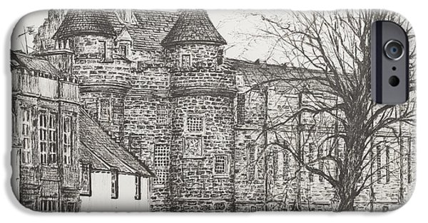 Lines Drawings iPhone Cases - Falkland Palace iPhone Case by Vincent Alexander Booth