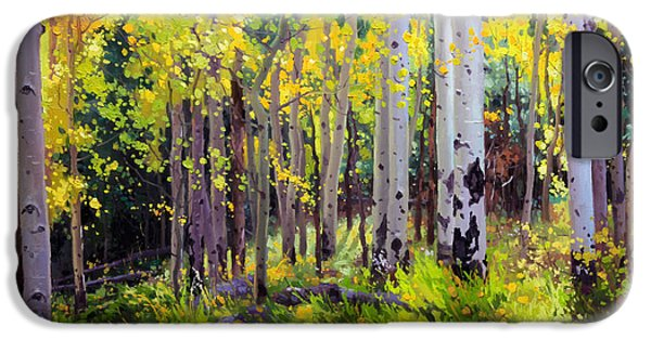 Santa iPhone Cases - Fall Aspen Forest iPhone Case by Gary Kim