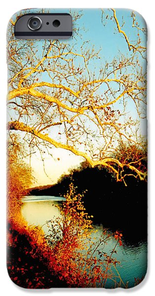 Fall at the Raritan River in New Jersey iPhone Case by Christine Till